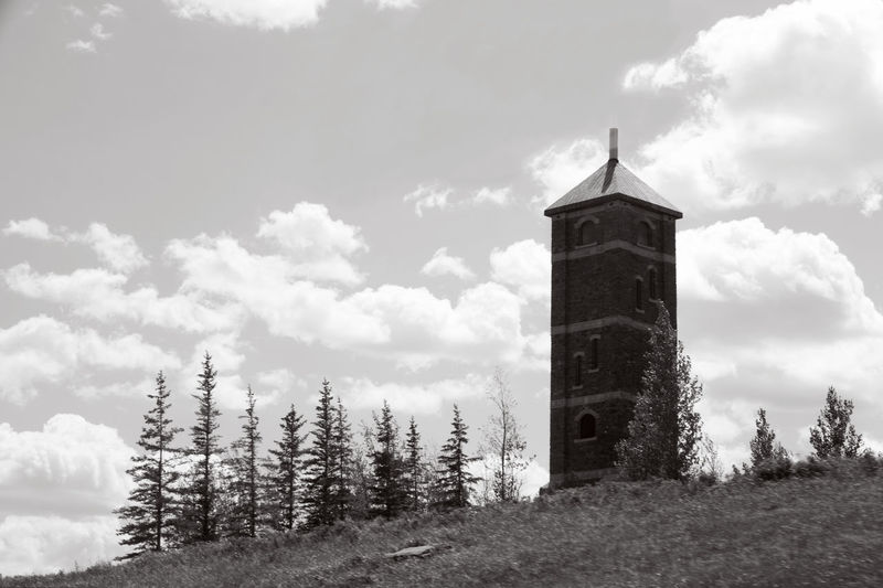 Architecture Beauty In Nature Black & White Black And White Blackandwhite Building Exterior Built Structure Bw Castle Cloud - Sky Day Field Lookout Nature No People Observation Point Outdoors Sky Stone Tower Tranquility Tree