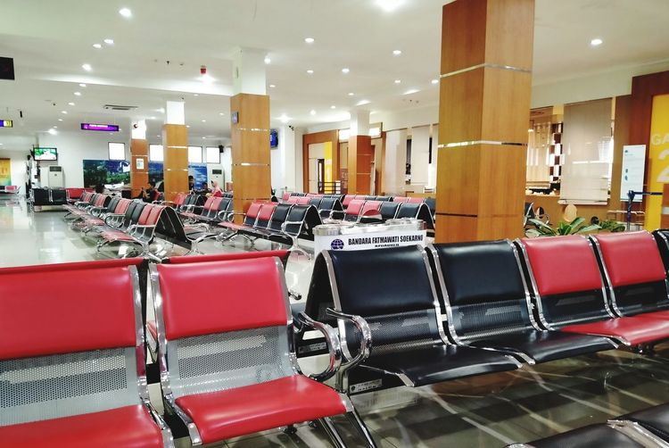 Empty chairs in airport