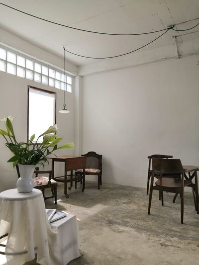 Empty chairs and table at home