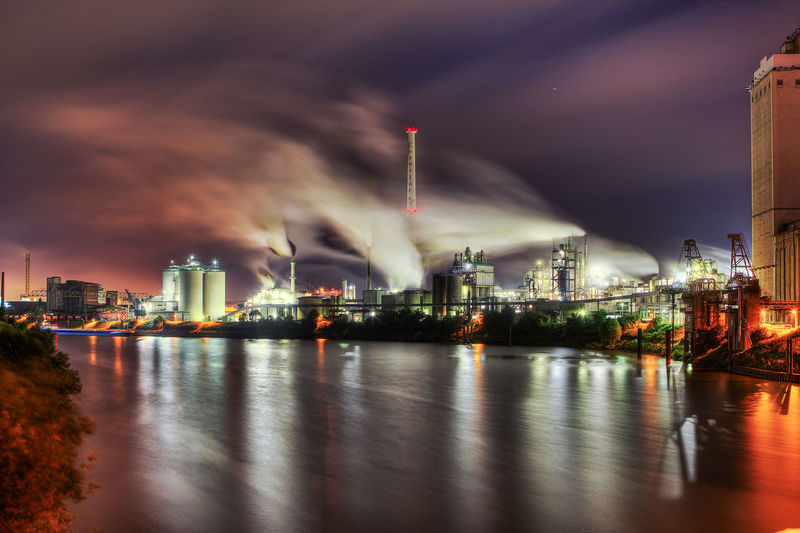 HDR Linn Nightphotography Spiegelung Architecture Building Exterior Built Structure City Factory Illuminated Industry Night No People Outdoors Sky Smoke Stack Wasser Water Waterfront