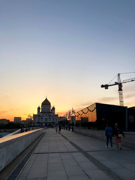 Cathedral Of Christ The Saviour City Life Moscow Promenade Russia Russian Church Architecture Building Exterior Built Structure Church Of The Christ The Saviour City Moscow Life Moscow Sunset Orange Color Outdoors Place Of Worship Religion Sky Sunset The Architect - 2018 EyeEm Awards The Great Outdoors - 2018 EyeEm Awards
