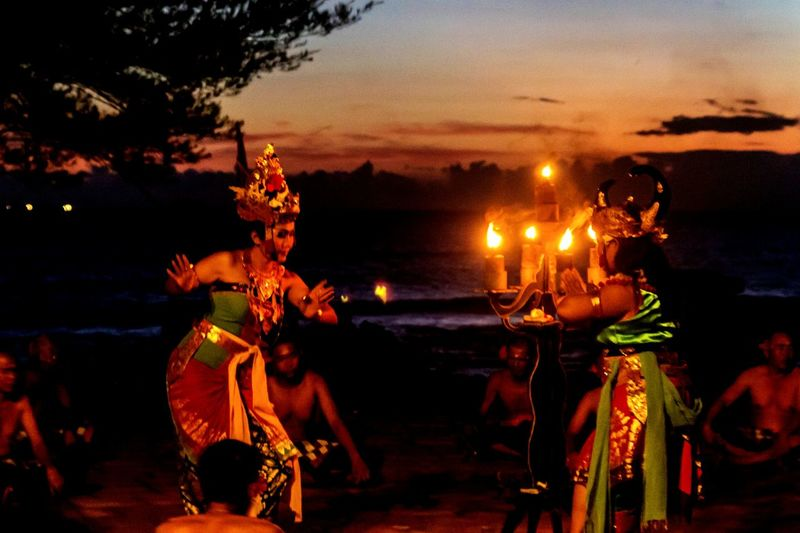 Spirituality Religion Celebrate The Moment Balinese Dance Sunset Outdoors Seaside Group Of Dancers