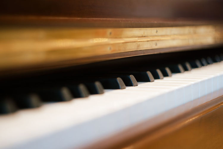 Close-up of piano at home