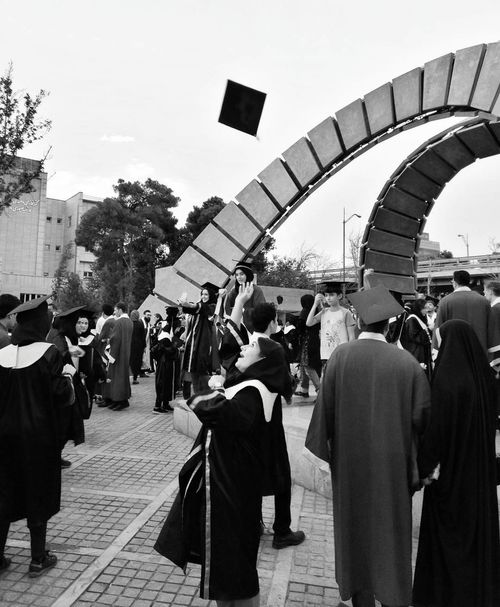 Graduation ceremony in the amir kabir university in tehran Graduation Ceremony Graduation Graduation Party  Graduating Graduate Large Group Of People People Adult Adults Only Outdoors Black & White Photography Monocrhome Black And White Collection  Happiness Happy University Student Unıversity EyeEm Selects Black And White Friday The Photojournalist - 2018 EyeEm Awards