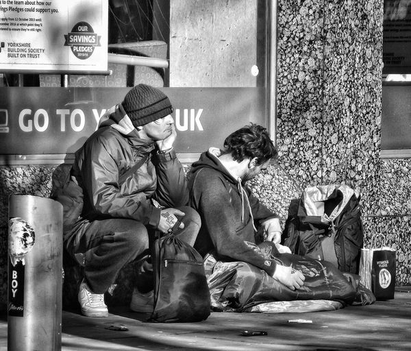 A photograph in my collection people of ManchesterPeople Of Manchester Homeless Of Manchester Uk Check This Out Street Photography EyeEm Best Shots - Black + White EyeEm Masterclass Streetphoto_bw EyeEm HDR Phototgraphy People Photography Homeless Human Condition Manchester UK Hdr Edit Bnw_collection Showcase March Fujifilm Hdr_Collection Creative Light And Shadow Shades Of Grey Black And White Photography Monocrome Black And White Collection  Bnw Photography Hdr Photography EyeEm Stilllife Black And White Portrait Bnw Photography