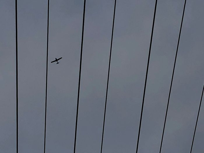 Lines Single Engine Plane Aviation Airplane Aeroplane Flying Low Angle View Day Mid-air