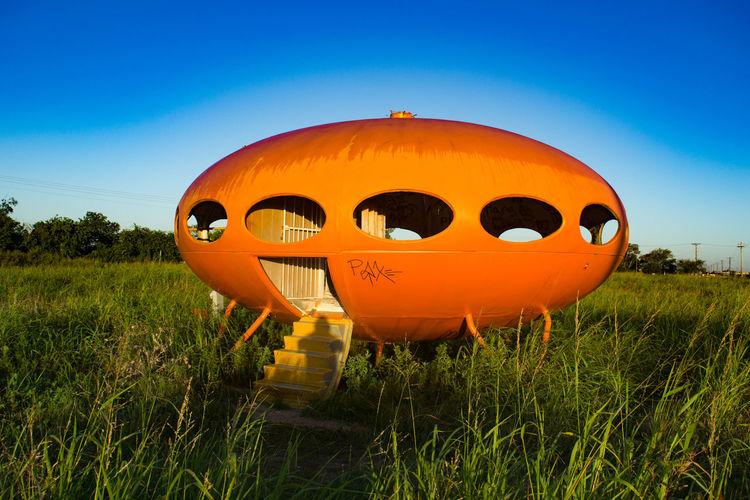 Derelict, but recently painted Futuro Home outside Royse City, TX Colorful Futuro Imagination Retro Texas Transportation UFO Unusual