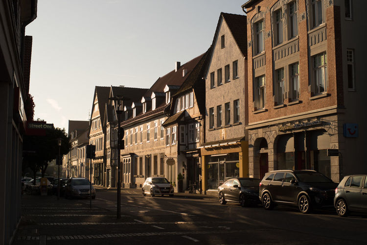 Exterstraße Cars Clear Sky Diminishing Perspective Historical Building Low Angle View Morning Light No People Street