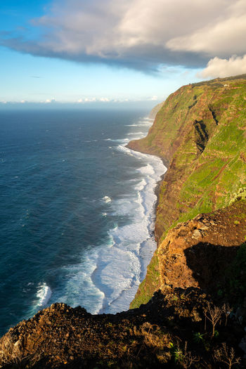 View of the landscape from Ponta do Pargo lighthouse at sunset Madeira Portugal Island Ilha Travel Landscape Nature Mountain Outdoors Panorama Panoramic Sea Seascape Coastline Waves Scenics Aerial View View Europe European  Coast Caniço Lighthouse Ponta Do Pargo Ocean