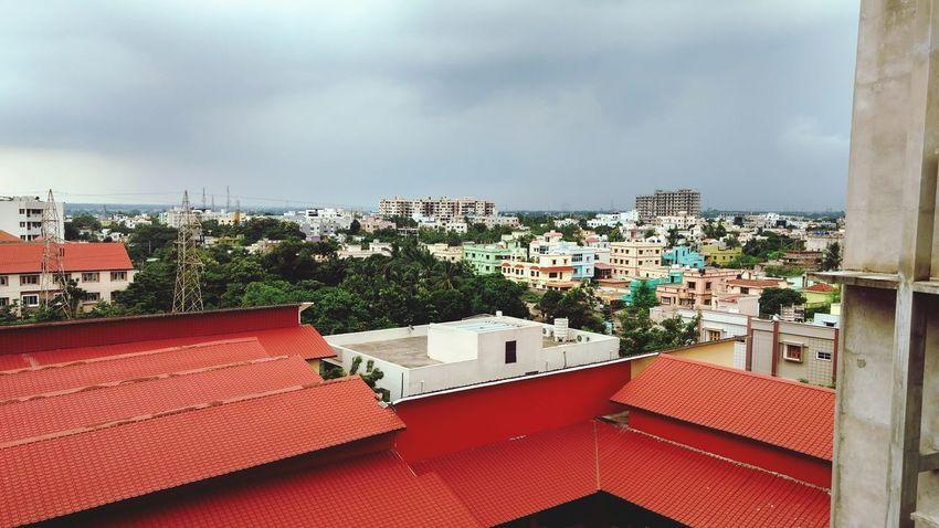 Architecture Red Sky .Rainy season
