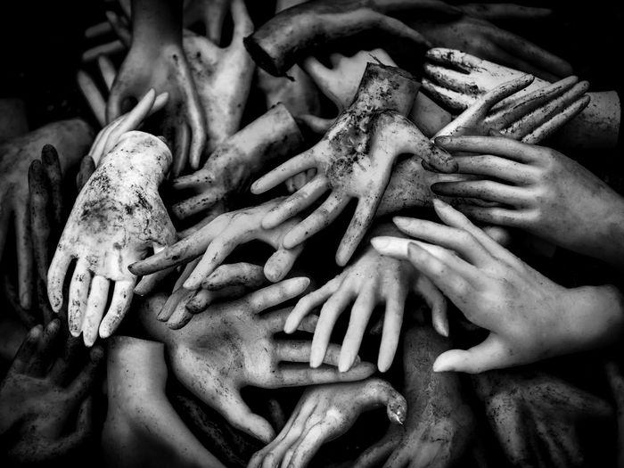 Full frame shot of artificial hands
