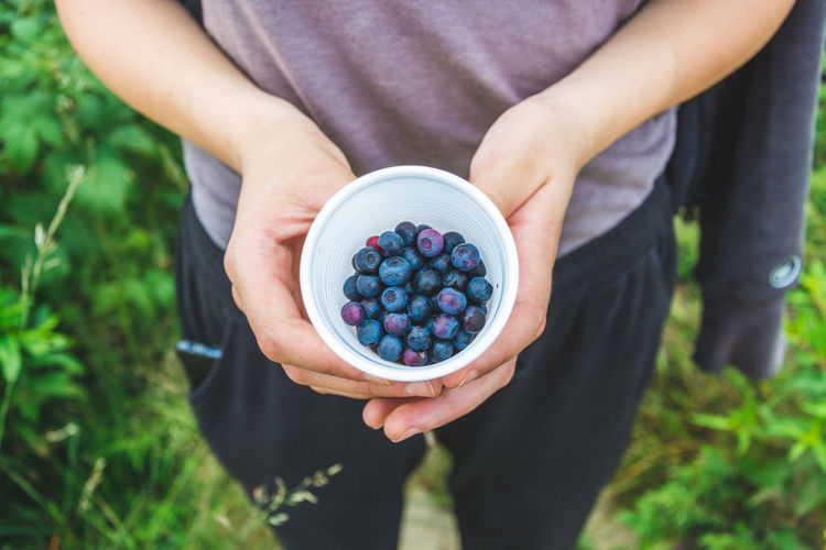Midsection of person holding blueberries outdoors