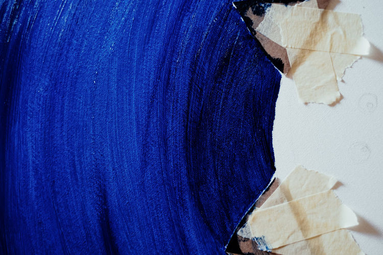 In Blue Blue Indoors  Close-up Creativity Art And Craft Painting Art Textile No People Casual Clothing Clothing Material Industry Fashion Still Life Fragility Textured  Pattern Vulnerability  Business Wood - Material Jeans