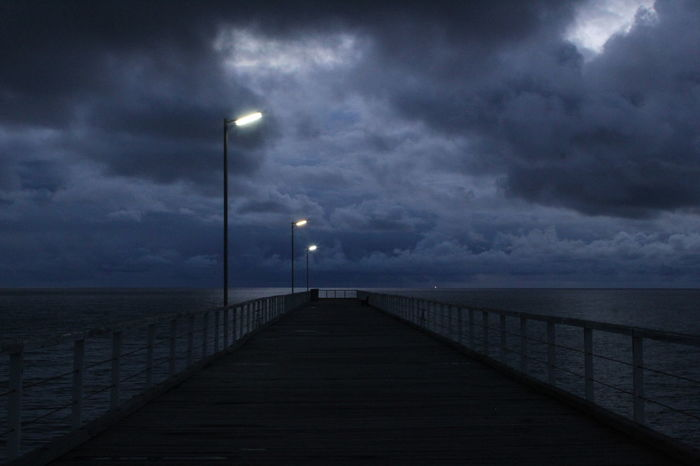 Street Light Sea Horizon Over Water Water Railing The Way Forward Sky Long Tranquil Scene Ocean Scenics Tranquility Calm Dramatic Sky Cloud - Sky Cloud In A Row Narrow Diminishing Perspective Majestic Rainy Days Semaphore. South Australia, Adelaide