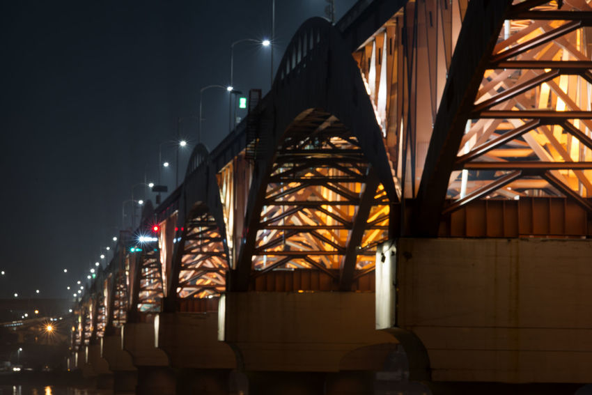 night view of Seongsandaegyo at Han River in Seoul, South Korea Architecture Bridge Built Structure Han River Hangang Illuminated Lamp Light Night Night Landscape Night View Seongsandaegyo