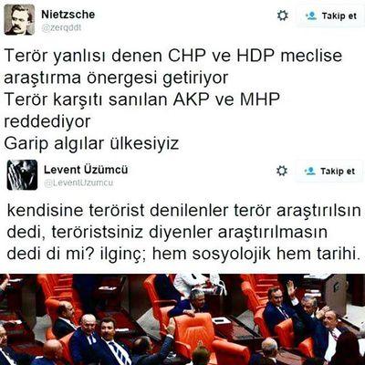 Tarihe not düşülsün! Terör arastirilsin onergesine red veren akp ve mhp kanla beslendiginin kanitidir. Chp HDP MHP Akp