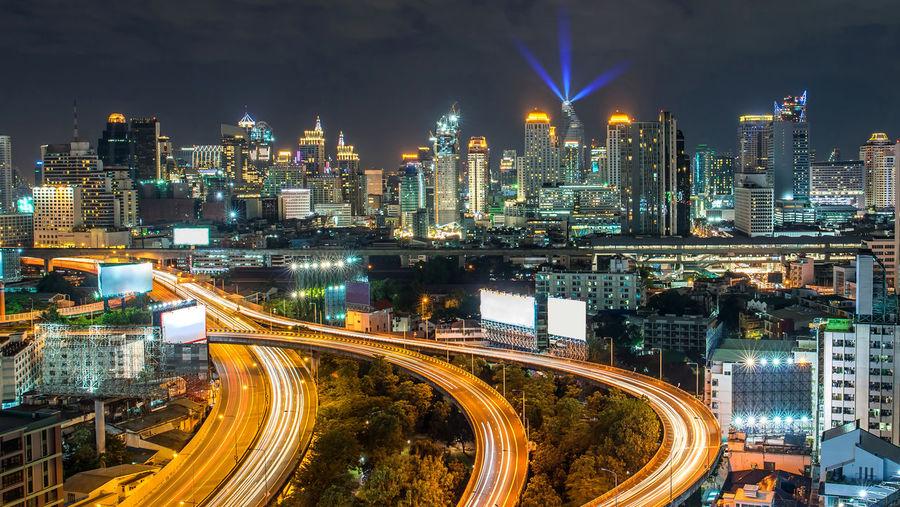 Bangkok city - aerial view of bangkok city downtown cityscape urban skyline at night