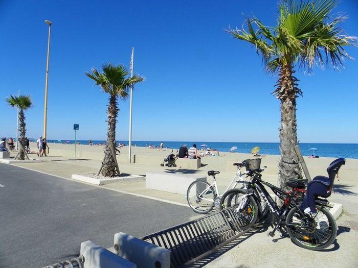 Bicycles on beach against clear blue sky