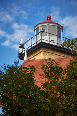 Architecture Blue Sky Building Building Exterior Built Structure Clouds And Sky Door County, Wisconsin Exterior Lighthouse Low Angle View Outdoors Red Tower