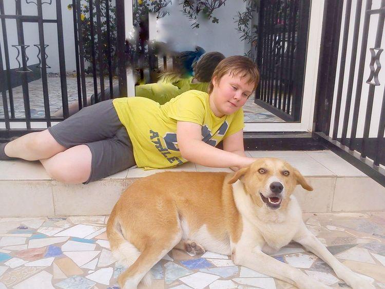 A Boy And His Dog Boy And Dog Dogs Pets Bulldog Animal Love Dog Lover