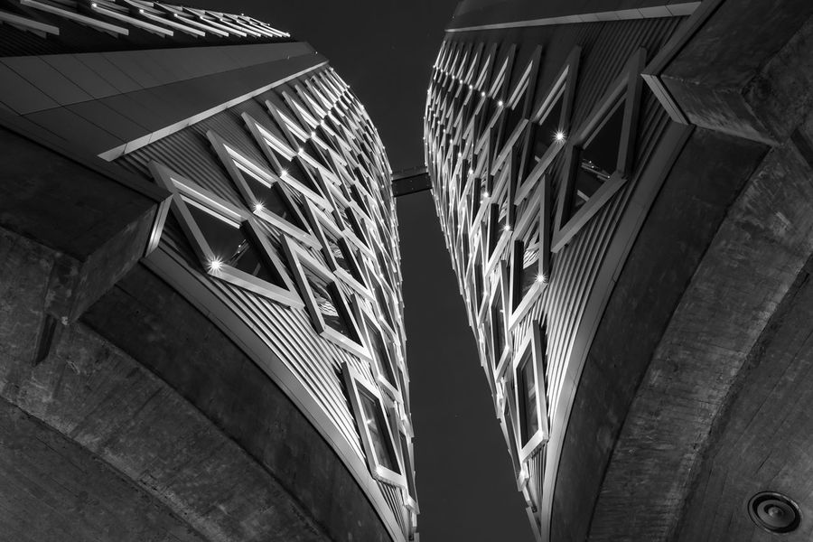 Diamond Lights Abstract Architectural Feature Architecture B&w Blackandwhite Building Building Exterior Built Structure Europe Exterior Futuristic Geometric Shapes Geometry Halfweg Holland Long Exposure Low Angle View Modern Modern Architecture Nederland Netherlands Night Nightphotography Silo Slow Shutter