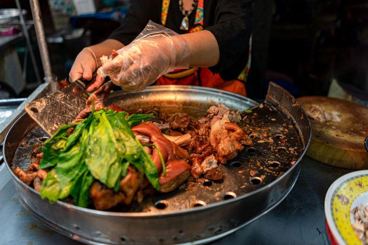 Picture of braised pork leg for put in rice pork leg, thai food