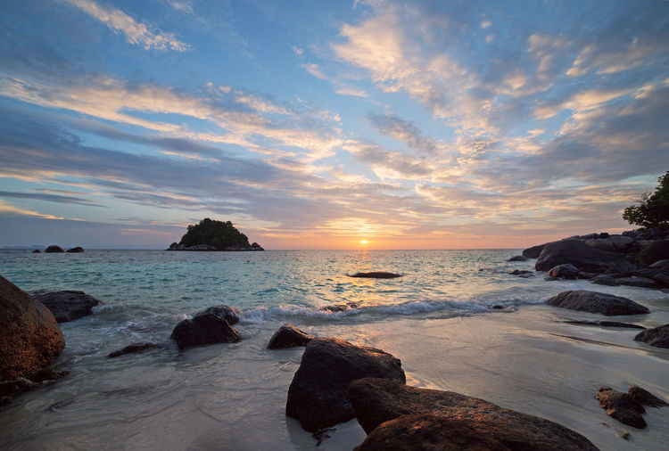 Koh Lipe sunrise Water Sea Sky Horizon Over Water Scenics - Nature Sunset Beauty In Nature Horizon Solid Beach Land Cloud - Sky Rock Tranquil Scene Rock - Object Tranquility Motion No People Outdoors Nature Thailand Landscape Landscape_Collection Koh Lipe Sunrise_sunsets_aroundworld