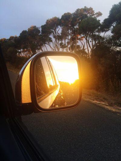 Sunset #sun #clouds #skylovers #sky #nature #beautifulinnature #naturalbeauty #photography #landscape Sunset Rear View Mirror Sun Setting Behind i IPhone Taking Photos Enjoying Life Photography EyeEm Gallery