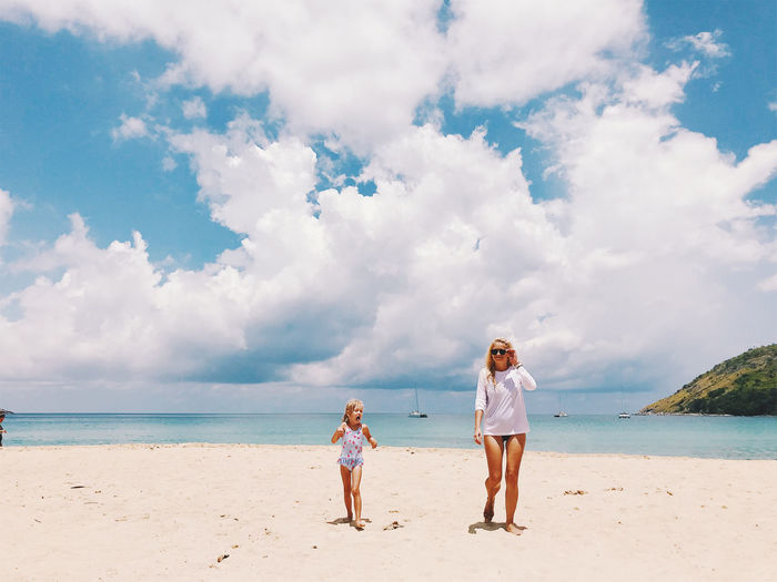 Full length of mother and daughter walking at beach against cloudy sky during sunny day