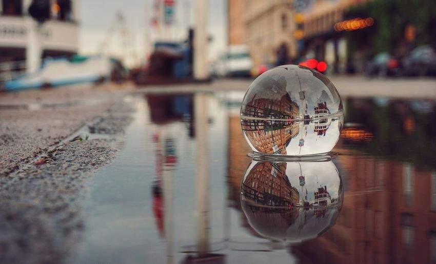Puddle Crystal Ball 2019 Niklas Storm Juni Water City Nautical Vessel Reflection Wet Close-up Architecture Harbor Dock Commercial Dock The Street Photographer - 2019 EyeEm Awards My Best Photo