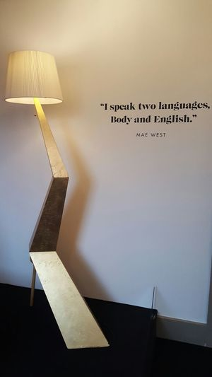I speak two languages, body and English.No People Communication Quoteoftheday Mae West Quote Dalí Simplicity Lamp Homefeeling HomeFeel