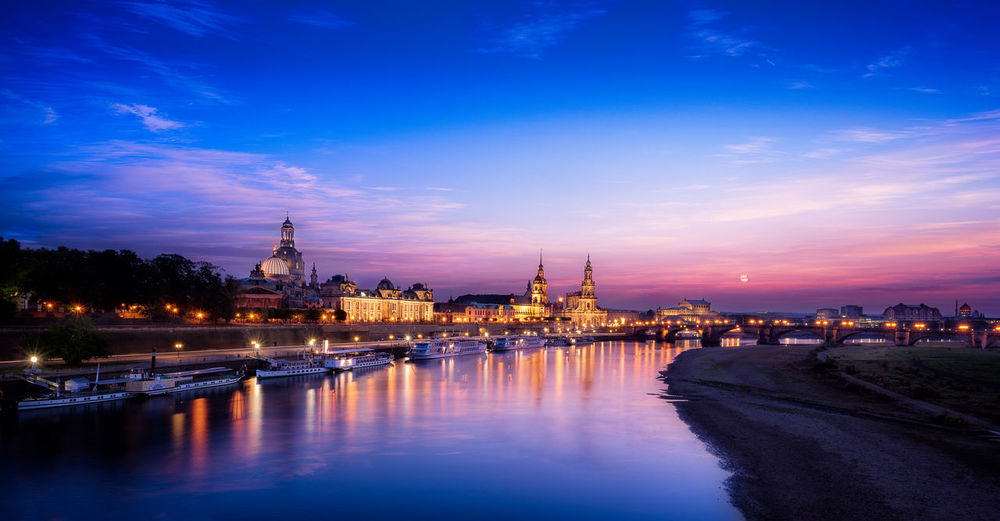 Dresden sunset Architecture Blue Building Exterior Built Structure Canal Church City City Life Cloud Cloud - Sky Dresden Dusk Elbe Frauenkirche History Illuminated Nautical Vessel Outdoors Place Of Worship Reflection River Sky Transportation Water Waterfront
