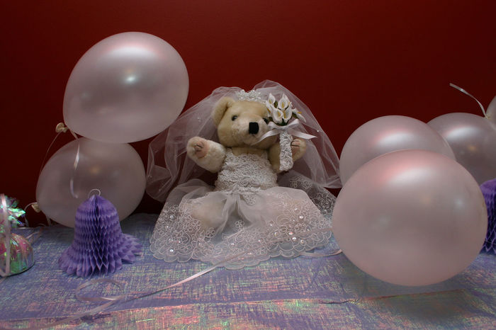 Wedding Wedding Theme Balloons Color Decorations Party Table Decorations Wedding Bear Bride Wedding Photography Wedding Shower White Balloons Telling Stories Differently Celebration No People Indoors  Colored Background Teddy Bear Balloon