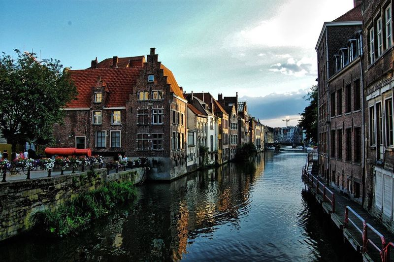 Architecture Building Exterior Built Structure Canal Water Sky Outdoors Row House Tree City No People Day Townhouse