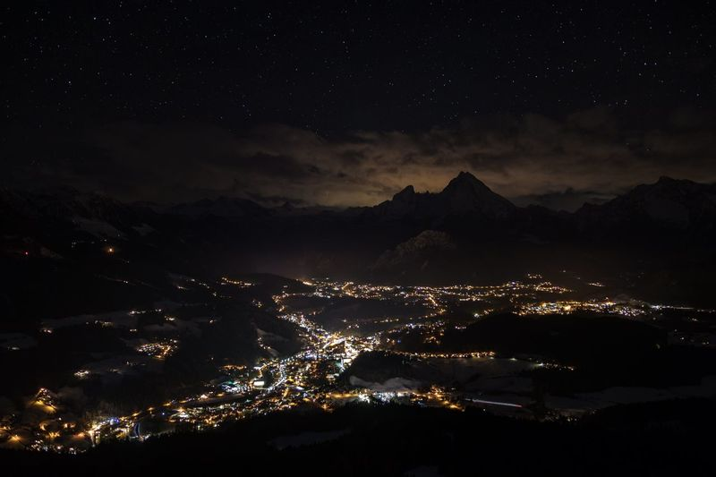 Berchtesgaden by night Canonphotography Canon Night Illuminated Sky Star - Space Astronomy Architecture Space City Nature Mountain Cityscape Star Outdoors