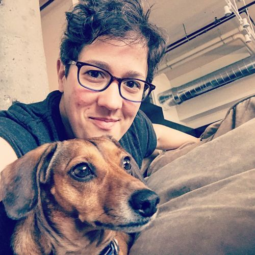 Pet selfie Dachshund Bedhead Woman With Dog Pet Selfie Dog Pets Eyeglasses  One Animal Looking At Camera Real People One Person Glasses Happiness Smiling