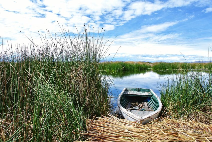 Lakeside. Plant EyeEm Nature Lover Reflection Titicaca Lake Peru Traveling Boat Beauty In Nature EyeEm Best Shots Lakeside Lake Titicaca Peru Puno Bolivia Copacabana Bolivia Floating Island Rowboat Reed Nature Photography Nature Nature_collection Water Sky Grass Cloud - Sky Horizon Over Water Scenics Seascape Idyllic Calm
