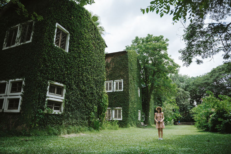 a girl photographer Tree Plant Nature One Person Day Lifestyles Outdoors Standing Real People Architecture Girl Photography Women Window House Cafe ASIA Thailand Sky And Clouds Summer Chiang Mai | Thailand Chiangmai