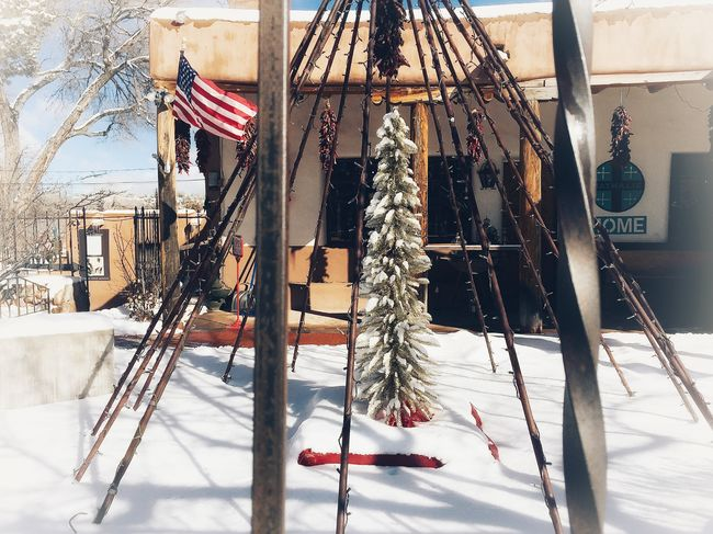 Looking Through Bars Shades Of Winter Winter Snow Outdoors No People Hanging Flag Day Cold Temperature Architecture Canyon Road