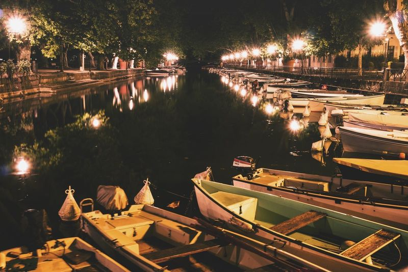 A canel. Waterlove WaterLovers Vacations Summer Summertime Holidays Citylights Langzeitbelichtung Long Exposure France 🇫🇷 Boats⛵️ Canalview Water Illuminated Tree City Sky Boat Canal Waterfront