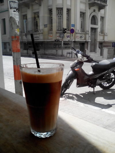 Iced CoffeeIced Coffee Drinking A Latte Cappucino Espresso Coffee Macchiato Coffee Break Motorcycle Motorbike Cafe Latte
