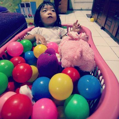 Miskah Daughter Toddler  Play ball color fun