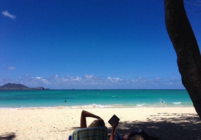 Reading in the shade of a tree Kailua Beach Hawaii Beach Relaxing Hello World Enjoying Life Ladyphotographerofthemonth Sky And Sea Happy My Memories Eye4photography  Landscape_photography EyeEm Nature Lover Landscape_Collection Tadaa Community Goodnight