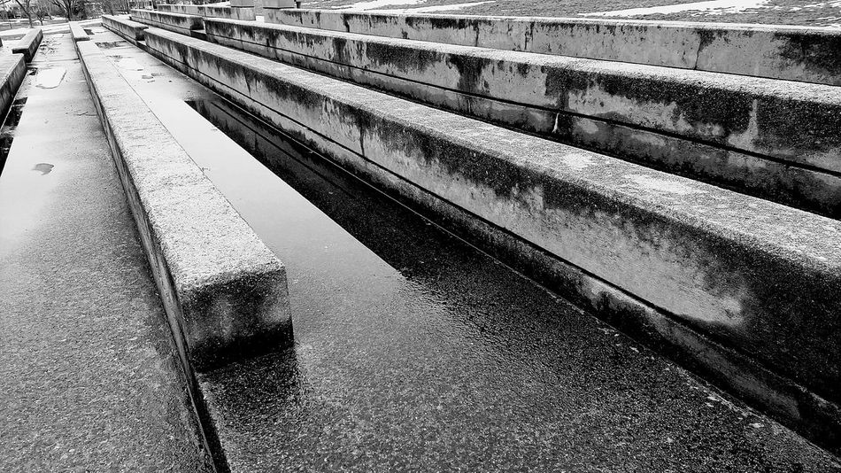 gloomy day Man-made Structure Concrete Structure Winter Puddle Puddle Reflections Day Outdoors No People Rainy Day Black And White EyeEm EyeEm Gallery Pattern Low Angle View Eyeem Black And White Eyeem Market Architecture Park - Man Made Space Public Park EyeEmNewHere