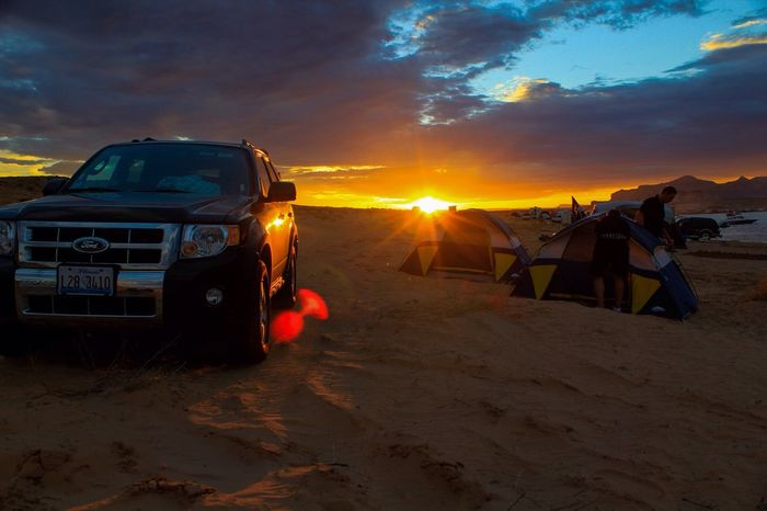 Sommergefühle Camp Camping Sunset Sky Sand Land Vehicle Nature Sunlight Outdoors