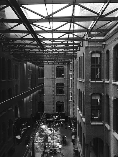 Skylight Indoors  Architecture Netherlands Black & White Black And White IPhoneography Conservatorium Van Amsterdam Light And Shadow Reflection Old And New Architecture Building Atrium Architecture Architectural Design Interior Design Contemporary Architecture Atrium