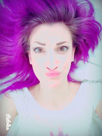 Purple Hair Dont Care ThatsMe Stupid Face