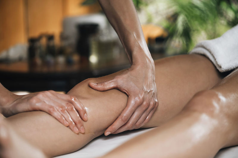 Ayurveda leg massage with essential oils