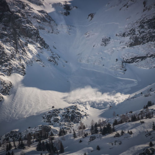 Mountain and avalanche in winter