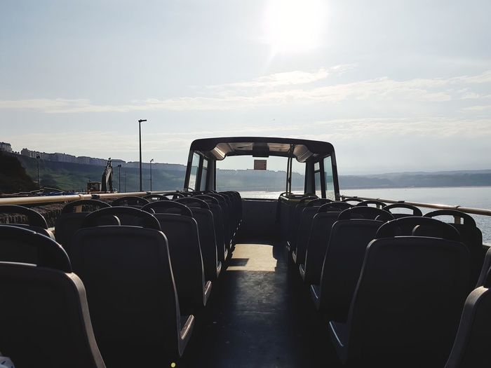Double Decker Bus Open Top Holiday Sea Sky Horizon Over Water